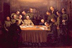La firma dell'armistizio a Villa Giusti