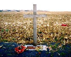 Una croce commemorativa della Tregua di Natale, vicino a Ypres, Belgio
