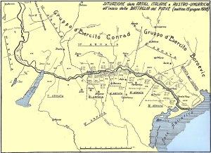 Clicca per ingrandire la mappa strategica sul Piave